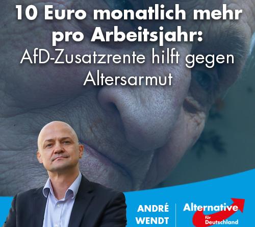 10 Euro monatlich mehr pro Arbeitsjahr: AfD-Zusatzrente hilft gegen Altersarmut