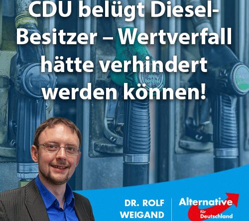 CDU belügt Diesel-Besitzer – Wertverfall hätte verhindert werden können
