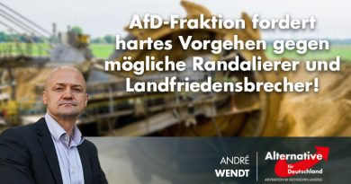 AfD-Fraktion fordert hartes Vorgehen gegen mögliche Randalierer und Landfriedensbrecher!