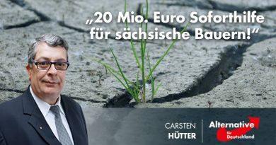 20 Mio. Euro Soforthilfe für sächsische Bauern!