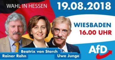 Hessenwahl: Auftaktveranstaltung der AfD 19.8. in Wiesbaden, 16 Uhr