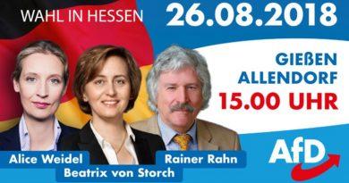 Hessenwahl: Rahn, Weidel, von Storch am 26.8. in Gießen, 15 Uhr