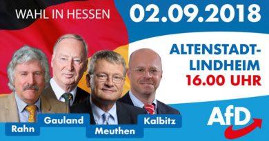 Hessenwahl: Rahn, Meuthen, Gauland, Kalbitz am 2.9. in Altenstadt-Lindheim, 16 Uhr