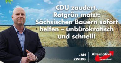CDU zaudert, Rotgrün motzt: Sächsischen Bauern sofort helfen – unbürokratisch und schnell!