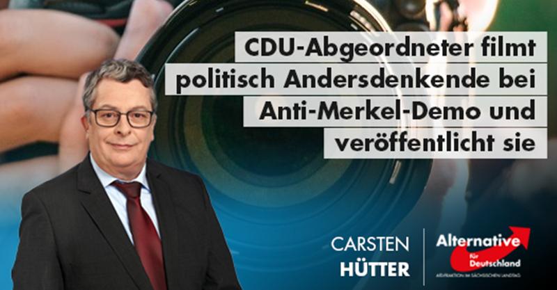 CDU-Abgeordneter Fischer filmt politisch Andersdenkende bei Anti-Merkel-Demo und veröffentlicht sie