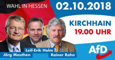 Hessenwahl: Rahn, Meuthen, Holm am 2.10. in Kirchhain, 19 Uhr
