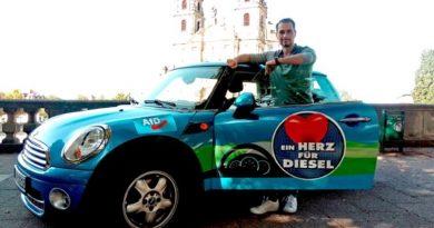 Das AfD-Diesel-Mobil unterwegs in Hessen