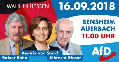 Hessenwahl: Rahn, von Storch, Glaser am 16.9. in Bensheim Auerbach, 11 Uhr