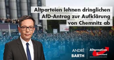 Altparteien lehnen dringlichen AfD-Antrag zur Aufklärung von Chemnitz ab