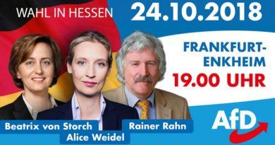 Hessenwahl: Rahn, Weidel, Storch am 24.10. in Frankfurt-Enkheim, 19 Uhr