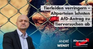 Tierleiden verringern – Altparteien lehnten AfD-Antrag zu Tierversuchen ab