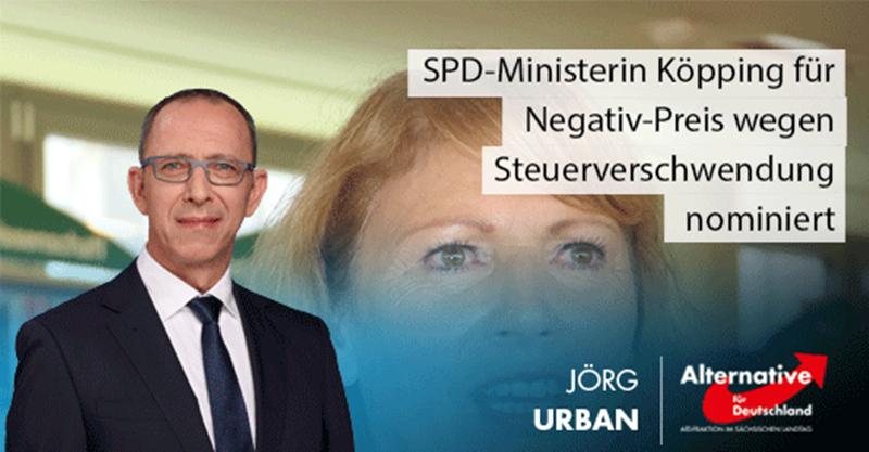 SPD-Ministerin Köpping für Negativ-Preis wegen Steuerverschwendung nominiert