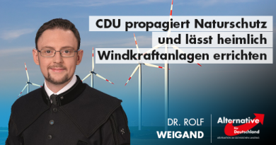 CDU propagiert Naturschutz und will offensichtlich heimlich Windkraftanlagen errichten