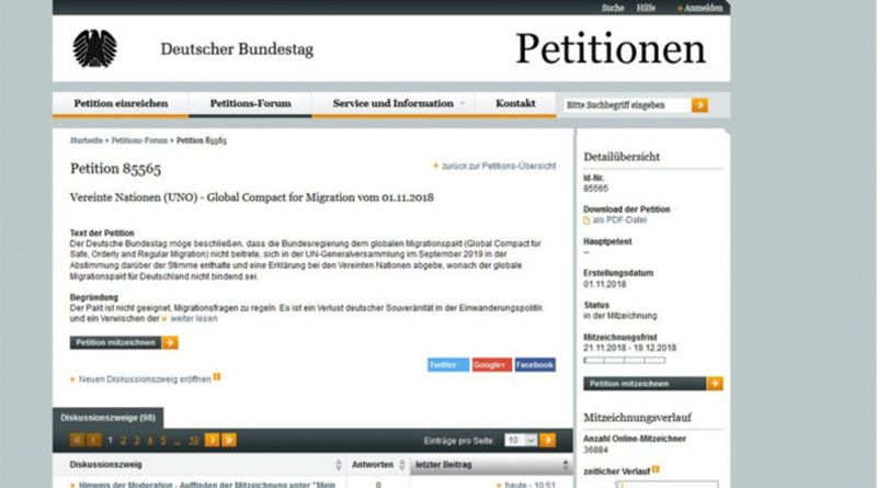 Zufallsgenerator bei Migrationspakt-Petition?