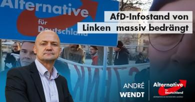 Kein Demokratieverständnis: AfD-Infostand von linksorientierten Demokratiefeinden massiv bedrängt