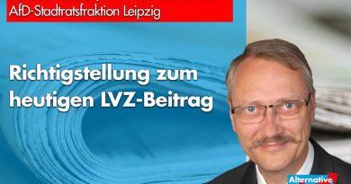 Richtigstellung zum heutigen LVZ-Beitrag von Mark Daniel.