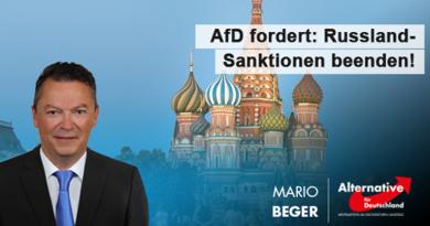 AfD fordert: Wirtschaftssanktionen gegen Russland beenden!