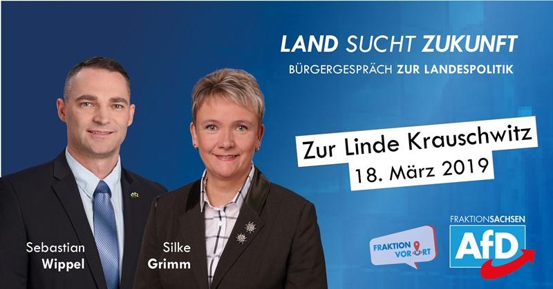 """""""Land sucht Zukunft"""" Bürgergespräch mit Silke Grimm (MdL) und Sebastian Wippel (MdL)"""