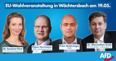 Einladung: Fürst, Herrmann, Boehringer und Krah am 19.5. in Wächtersbach