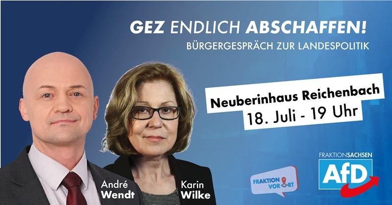 Karin Wilke und André Wendt laden am 18.07.2019 in das Neuberinhaus Reichenbach im Vogtland ein