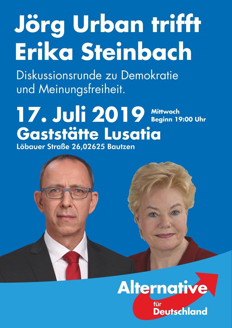 Jörg Urban trifft Erika Steinbach - Diskussionsrunde zu Demokratie und Meinungsfreiheit