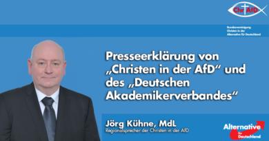 """Presseerklärung von """"Christen in der AfD"""" und des """"Deutschen Akademikerverbandes"""""""