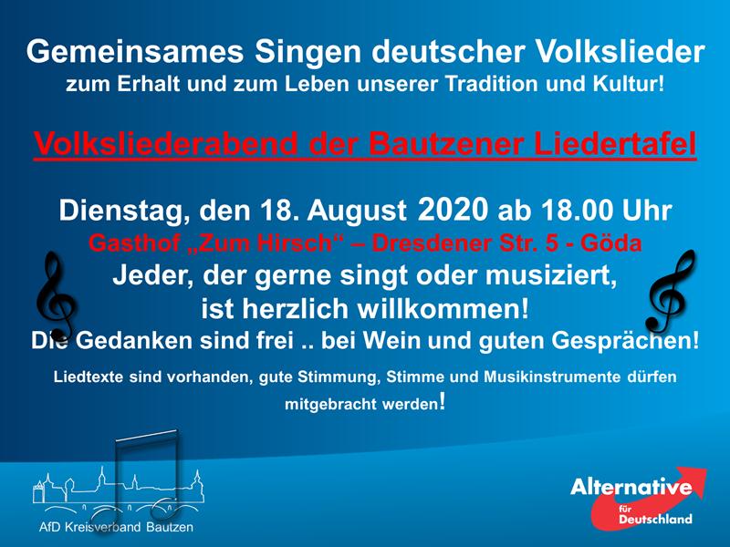 BAUTZENER LIEDERTAFEL Gemeinsames Singen deutscher Volkslieder