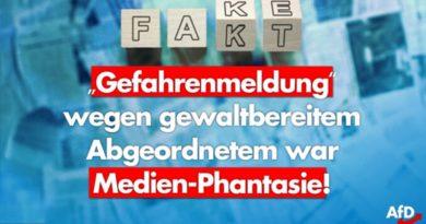 """Anti-AfD-Propaganda: """"Gefahrenmeldung"""" wegen vermeintlich gewaltbereitem Abgeordnetem war Medien-Phantasie!"""