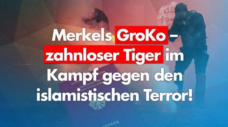 Merkels GroKo – zahnloser Tiger im Kampf gegen den islamistischen Terror. Neues Gesetz nicht einmal angewandt.