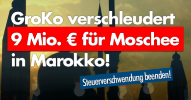 """Groko bezahlt 8,5 Millionen Euro für """"Öko-Energie"""" in Moscheen in Marokko!"""