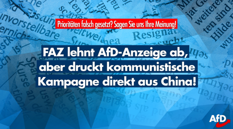 Annoncen in der Mainstream-Presse: AfD verboten, kommunistische Partei in China erlaubt!